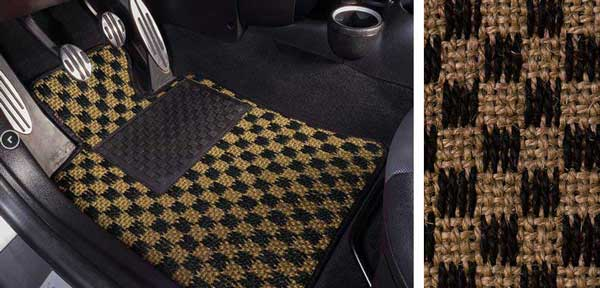 Black and Tan Mats in a MINI Cooper