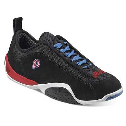 PilotiSpyder S1 Black Suede with Red heel and Blue laces