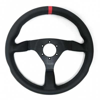 Racetech Flat Leather Wheel - 350mm with Red Leather